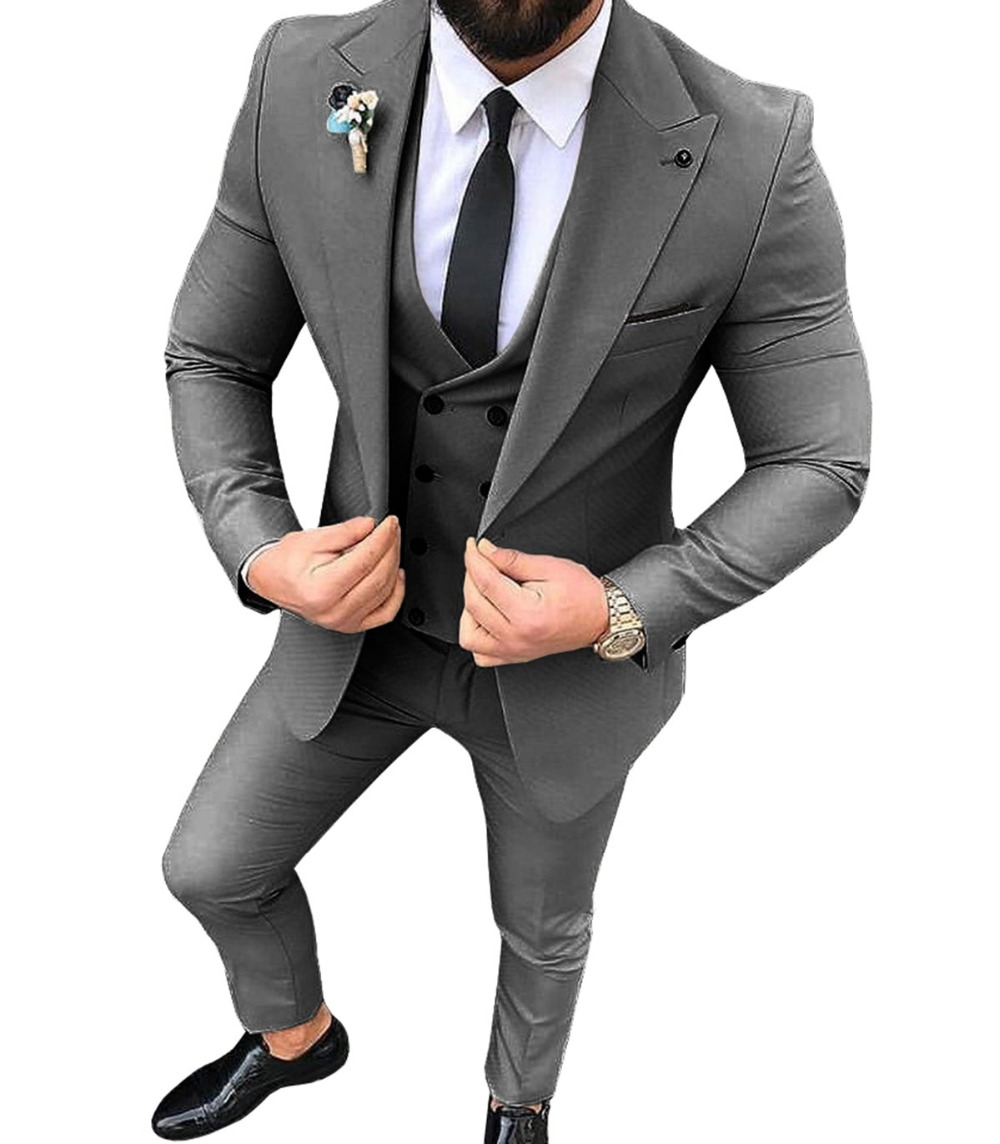 Men Suits 3 Pieces Slim Fit Casual Groomsmen Army Green Champagne Lapel Business Tuxedos For Formal Wedding(Blazer+Pants+Vest)