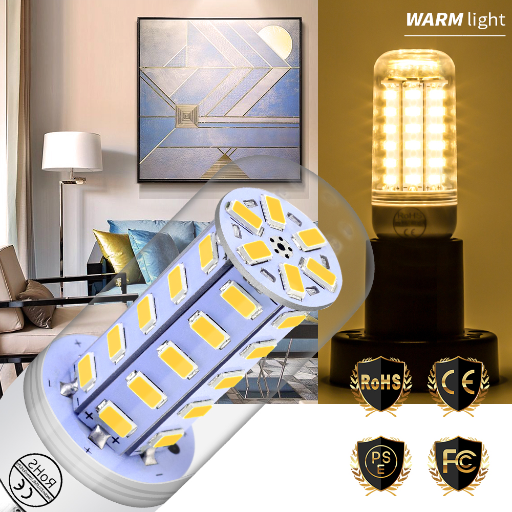 E14 Led Bulb E27 Led lamp 220V Candle Corn Light 230V 5730 Lamparas 24 36 48 56 69 72leds Indoor High Lumen Chandelier Lighting