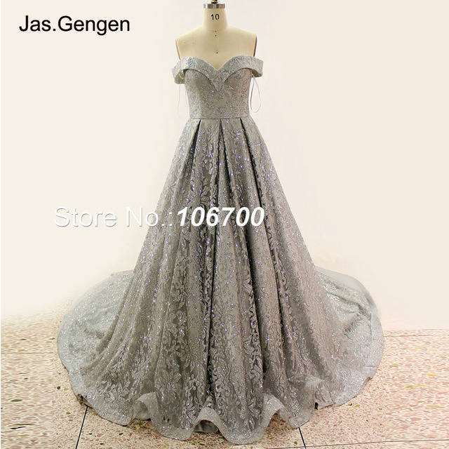 Silver Glitter Fabric Evening Dresses Big Bottom Lace up Back Sweetheart  Prom Gowns New 2018 Bridal robe de soiree 941 cd05932917ae