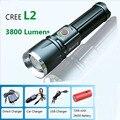 Аккумуляторная led фонарик факел CREE XM-L2 витые бусины 3800 люмен 5 режим масштабируемые linternas led recargableTactical Фонарик