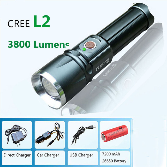 Rechargeable led flashlights torch CREE XM-L2 lamp beads 3800 lumens 5mode zoomable linternas led recargableTactical Flashlight