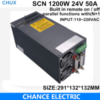 Built In Remote On Off Switching Power Supply 24V 50A 1200W 110 220VAC Single Output For