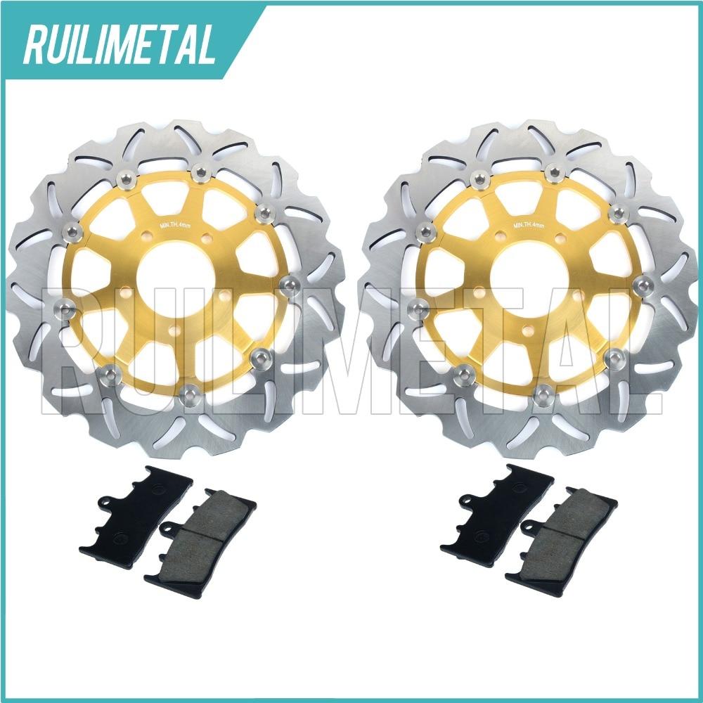 Front Brake Discs Rotors Pads Set for Suzuki GSX-R 750 96 97 98 99 GSXR 1000 01 02 K1 K2 TL 1000 R 98-03 GSX1300R Hayabusa 99-07 kawasaki zx 9r 96 97 98 99 00 metal brake pads front brake pads free shipping