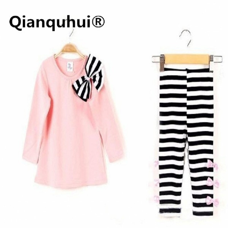 Qianquhui Autumn And Winter Style New Kids Girls Bow Striped Leggings Suit Long Sleeve Shirts Tops Sets Size 3-8 Y Sport Suit wi fi роутер tp link wbs510 wbs510