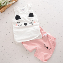 Baby Girls Sets 2017 Cat Pattern Summer Letter Cartoon Tshirts+pants Cotton Sleeveless O-neck Kids Girls Clothing 2 Pieces Cs031