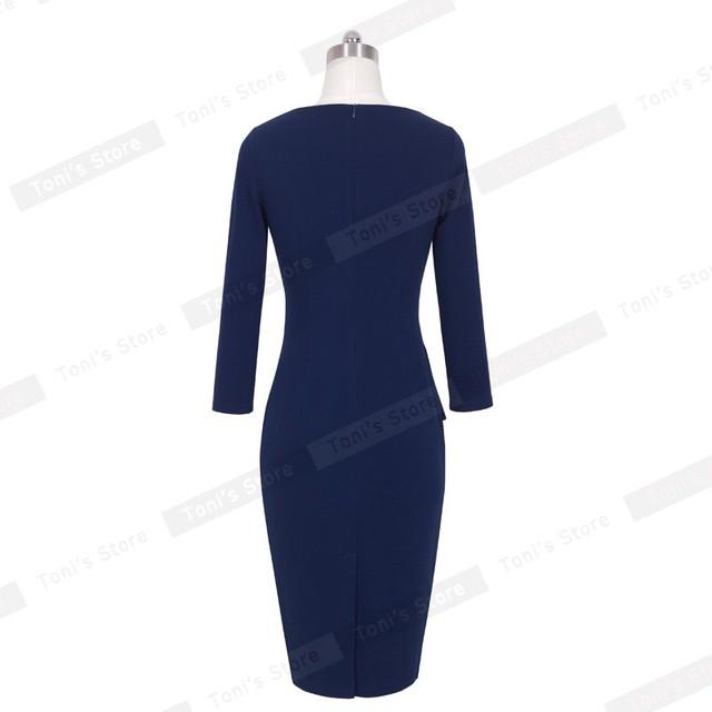 91ce2274026d6 Nice-forever Career Female Peplum Work Dress 3/4 Sleeve O Neck Women  Fashion Sheath Elegant Business Bodycon Pencil Dress