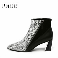 Jady Rose Fashion Designer White Women High Heel Shoes Zipper Pointed Toe Ankle Boots Leather Botas Feminina Shoes Women's Pumps