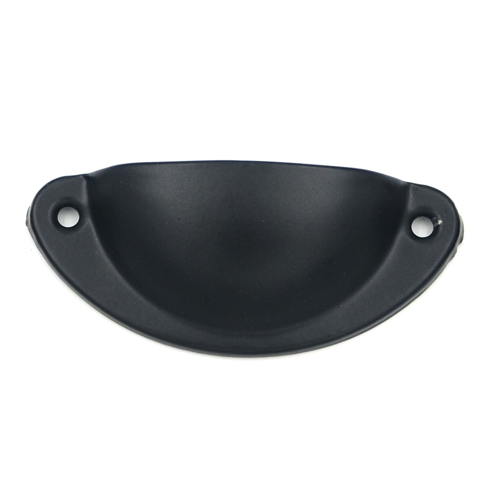 5pcs Black Color Semicircle Shell Cabinet Door Cupboard Antique Furniture Pull Handles Drawer