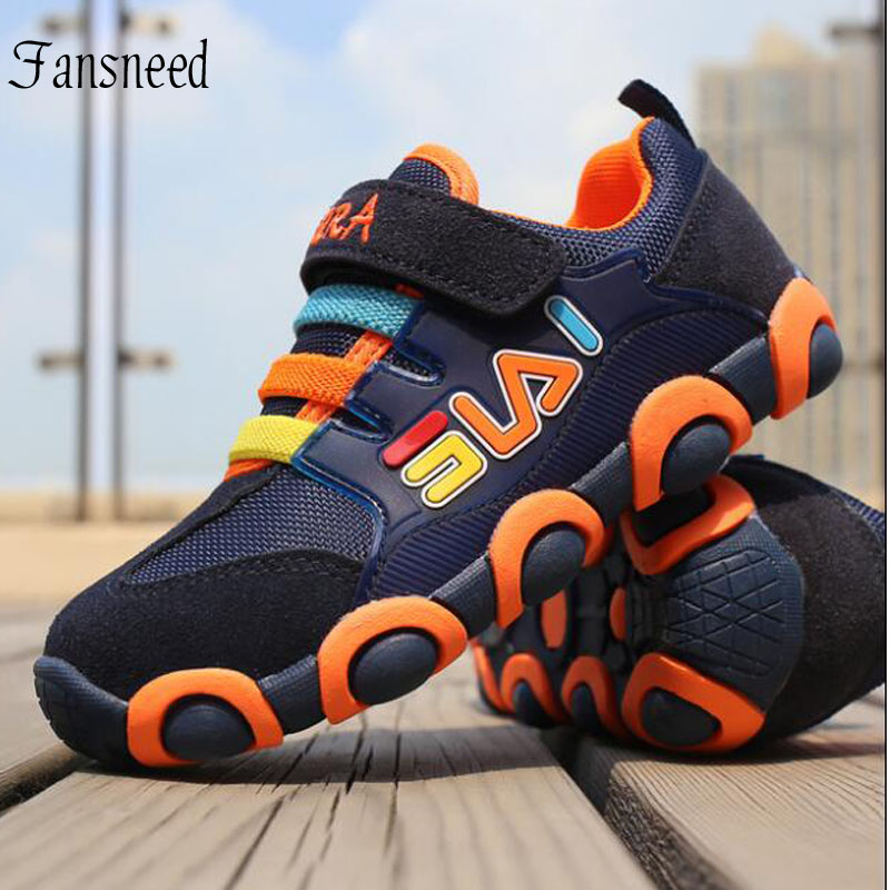 Tank Shoes Children Genuine Leather Sports Shoes Boys Girls Breathable Mesh Sneakers Fashion Kid Spring Shoes Size 26 To Size 37