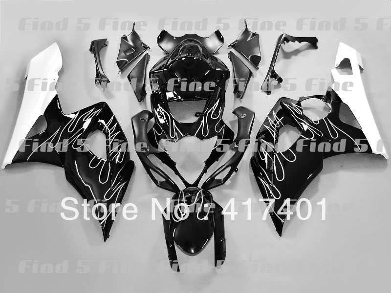 95cb68a9b Chama branca preto para SUZUKI GSX-R1000 05-06 GSXR1000 GSX-R1000 GSXR 1000  05 06 2005 2006 motocicleta completa carroçaria