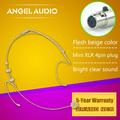 Free Shipping Flesh Colour Mini XLR 4 Pins TA4F 4PIN Connector Plug Headset Microphone For SHURE Wireless BodyPack Transmitter