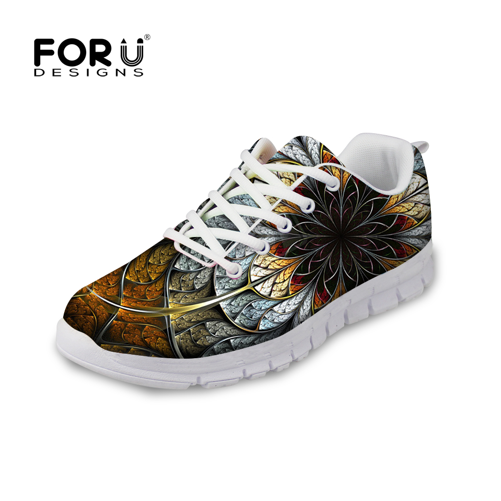 45d544840e99f3 FORUDESIGNS Floral Style Flats Shoes Woman 3D Unique Flower Printing Casual  Breathable Shoes for Women Lace-up Flat Mesh Shoes