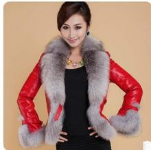 S/3Xl Womens Winter And Autumn Slim Leather Jacket Female Patchwork Pu Leather Fake Fur Outwears Ladies Plus Size Iutwears K562