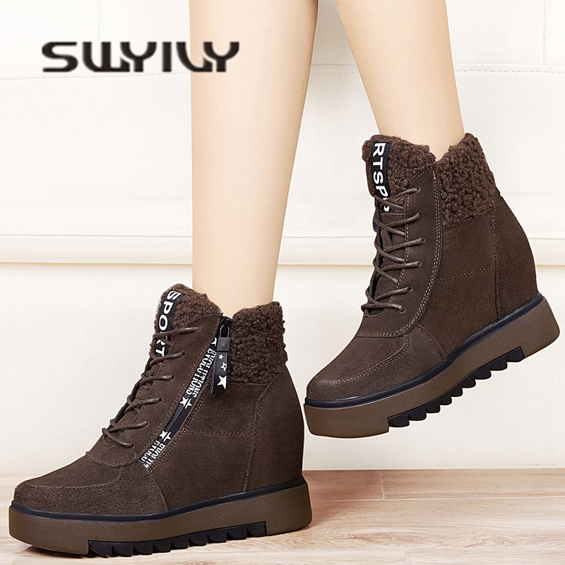 SWYIVY Woman Snow Boots Platform Genuine Leather 2018 Winter Warm Female Casual Shoes Wedge Vevlet Fur Suede Lady Snow Boots Zip 2018 genuine leather snow boots platform woman autumn winter female warm snow boots shoes wedge ankle boots shoes woman suede