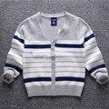 Мальчики свитера 2016 осень ребенка кардиган Полосатый хлопок вязать детские свитера одежда с длинным рукавом Дети Верхняя Одежда для мальчиков