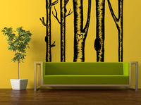 Wall Room Decor Sticker Mural Decal Birch Tree Set Love Heart Big Large