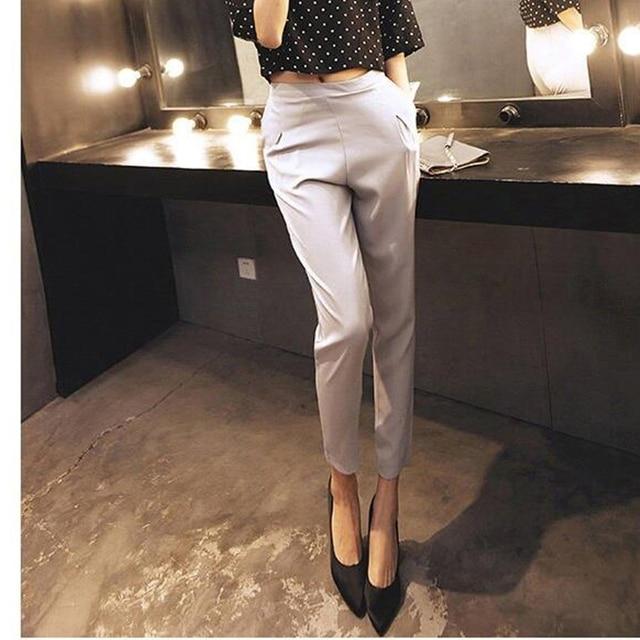 Trousers for women 2019 Women's Bottoms Ankle Length Pants Slim Chiffon Ladies Harem Pant High Waist Pure Color Casual Trouser