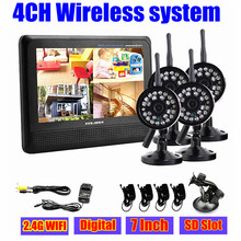 4CH digtial беспроводной безопасности системы видеонаблюдения камеры 7 » жк-детские монитор открытый 2.4 ГГц DVR камеры наблюдения беспроводная система кит