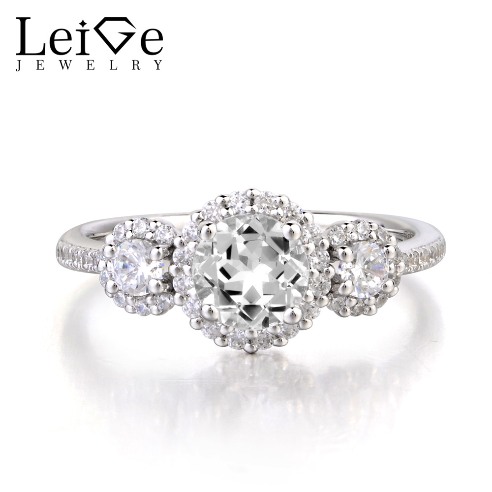 Leige Jewelry Wedding Ring Natural White Topaz Ring Round Cut Gemstone 925 Sterling Silver Ring November Birthstone for Women leige jewelry real natural white topaz ring wedding ring pear cut gemstone november birthstone solid 925 sterling silver ring
