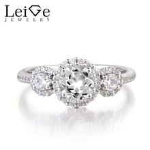 Leige Jewelry Wedding Ring Natural White Topaz Ring Round Cut Gemstone 925 Sterling Silver Ring November Birthstone for Women