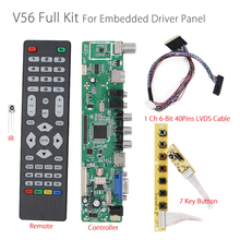 V56 Universal LCD TV Controller Driver Board PC/VGA/HDMI/USB Interface+7key Button+1ch 6-bit 40pins lvds For embedded driver lcd