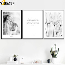 цена на Lion Dandelion Quote Wall Art Canvas Painting Nordic Posters And Prints Black And White Wall Pictures For Living Room Home Decor