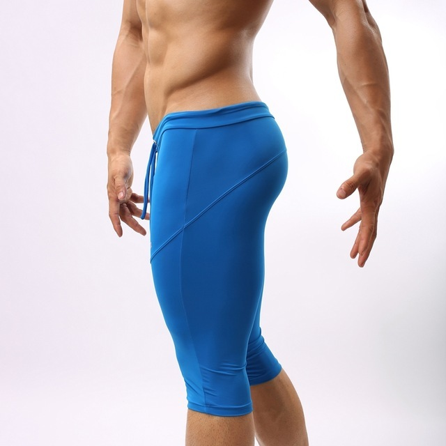 Men s Clothing Spandex Tights Men Elastic Solid Shorts Homme Compression  Knee Length Shorts Sexy Male Long Boxer Men Joggers 283168c2c25b