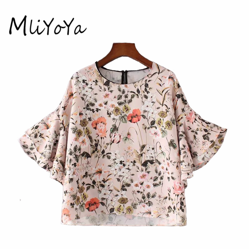 Mliyoya Store MLIYOYA Women Sweet Ruffles Loose Floral Shirts 2017 Summer New Fashion Short Sleeve Blouse Flower Printed Tops Shirt