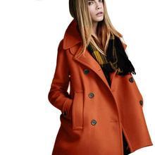 2016 Newest Winter Woolen Coat European Style Double-Breasted Wool Coat Fashion Vintage Winter Coat Women Elegant Trench Coat