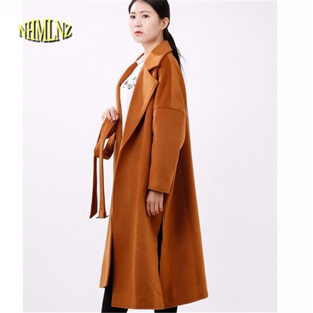 b6f6f7b5f220 2019 Women Autumn Winter Large size Simpel Pure color Woolen Loose Long  Coat Korea New Style Belted Female Casual Overcoat G2772