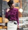 Blusas Feminino Womens tops Moda blusa Senhoras Estande Folho blusas manga Comprida Imitação de Seda camisa ropa mujer