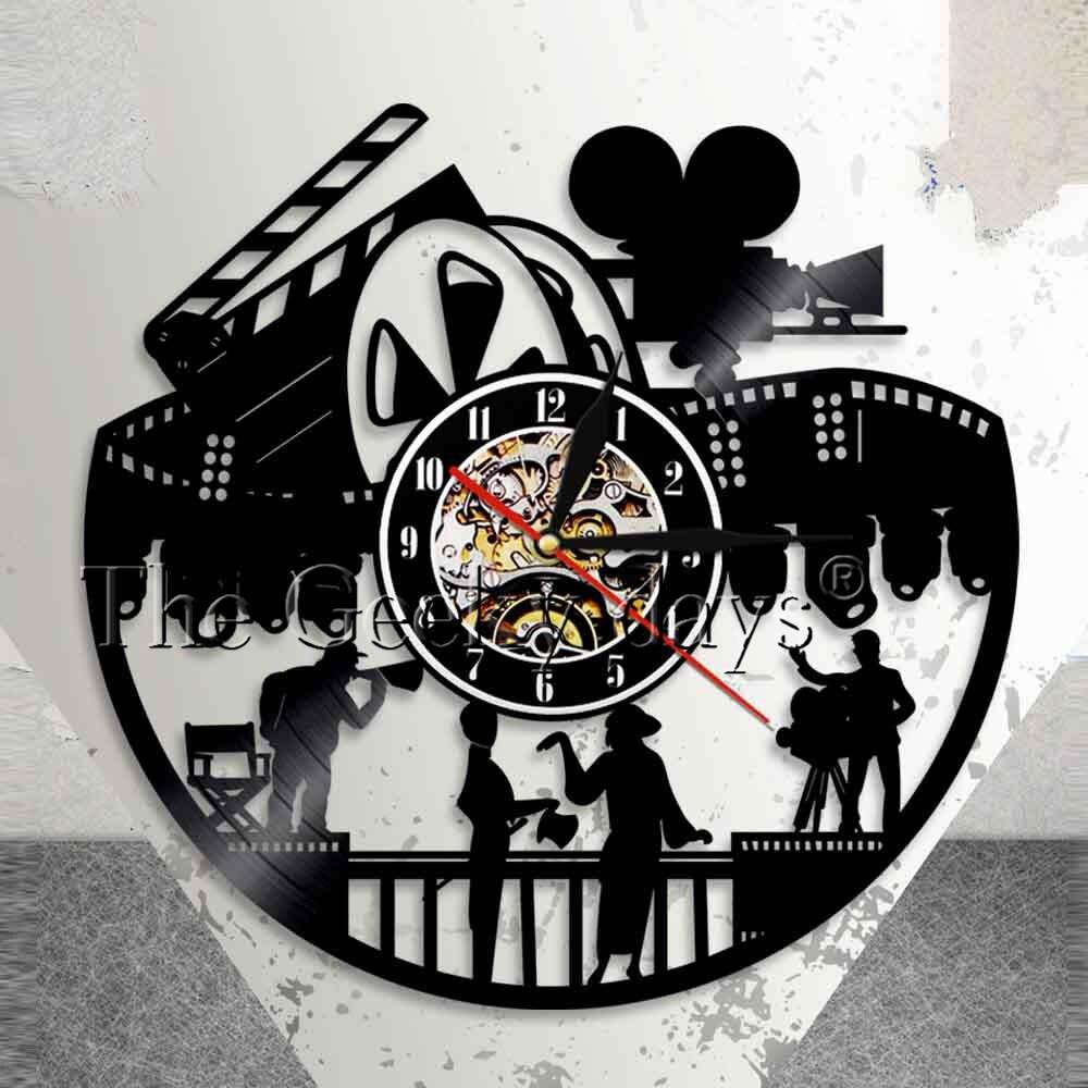 Кино Театр стены Книги по искусству Home Decor настенные часы действия актер фильмов производства пленки любителей подарок ретро старый Винило...