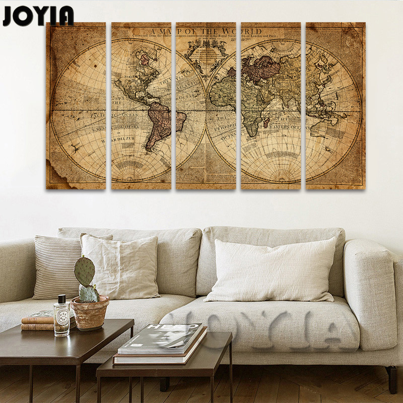 5 Piece Canvas Art Print Vintage Home Decor World Map Painting Calligraphy Brawn Old Map Of