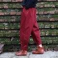 Красный Черный 100% Хлопок Свободные Эластичный пояс Женщины Гарем Брюки Марка дизайн Высокое качество Брюки Vintage Повседневная Гарем Брюки A047