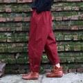 Rojo Negro 100% Algodón Sueltos pantalones de cintura Elástica Mujeres Pantalones Harén Pantalones Harem Ocasional de La Vendimia del diseño de Marca de Alta calidad Pantalones A047
