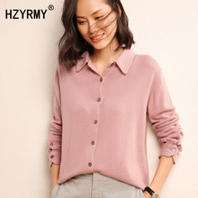 HZYRMY Autumn New Women Cashmere Cardigan Solid color Fashion Quality Sweater Winter Soft Knitted Wild Warm Wool Female Cardigan