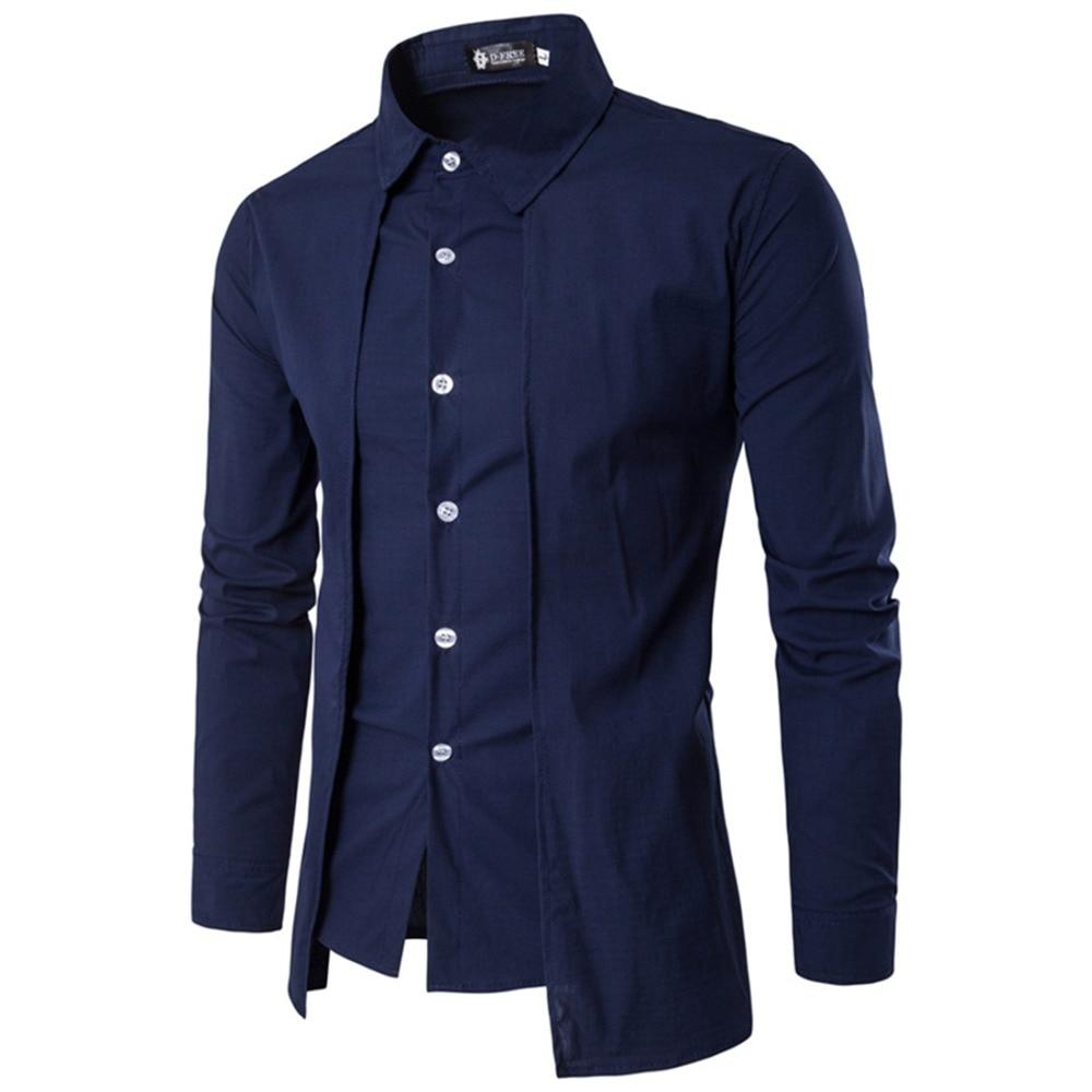 New Single Breasted Black Gray Men Blazer Men Patchwork Fake 2PCS Brand Shirts Long Sleeve Wedding Office Formal Shirts Hombre
