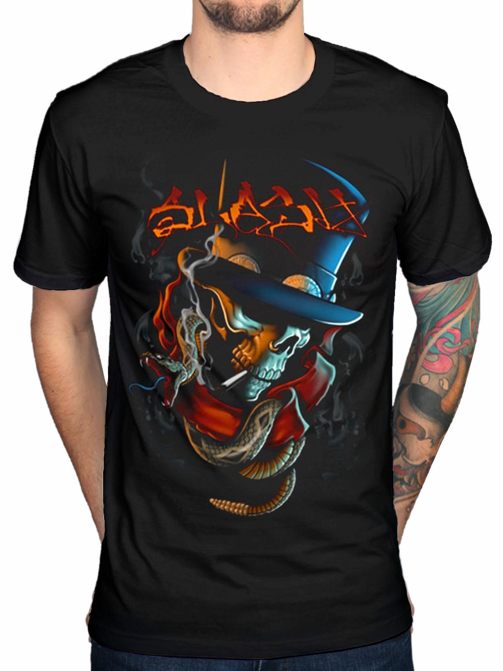 Black Cotton T-Shirt top tee Official Slash Smoker T-Shirt World On Fire Apocalyptic Love Made In Stoke Rock