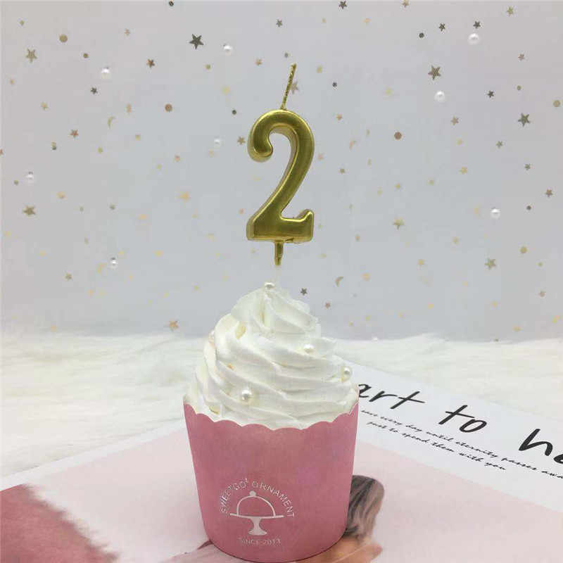 1pc Silver Gold Candles For Happy Birthday Party Decorations Kids Adult 0-9 Number Candles Cake Cupcake Topper Party Supplies