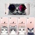 Gato lindo con el patrón de los vidrios funda para iphone 6 6 S 5 se 7 7 PlusTransparent 5S Teléfono Celular de Silicona Suave casos