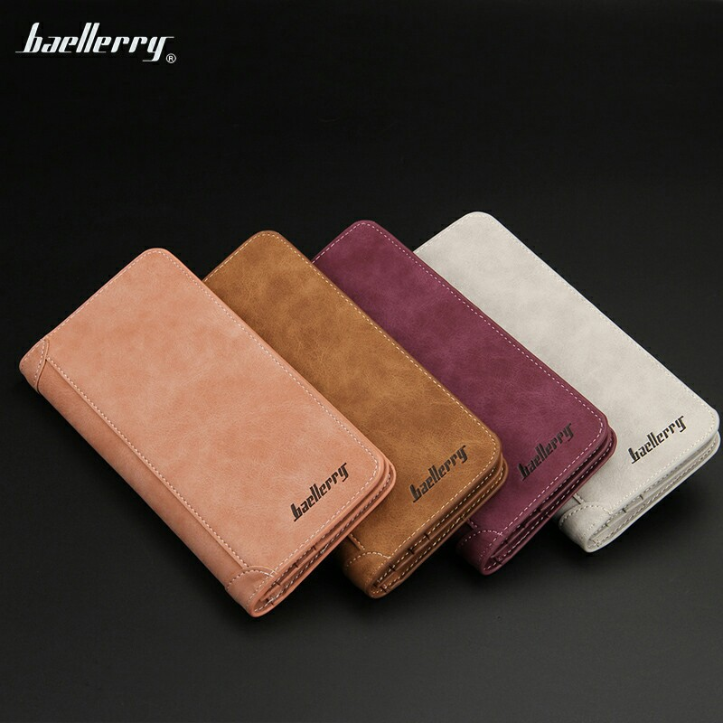 2018 brand baellerry new hot casual retro mens long wallet multi-card bit matte wallet