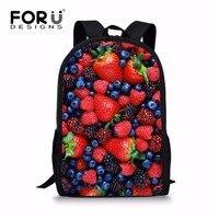 FORUDESIGNS Preppy Junior Primary Girls School Bag Strawberry Bookbag For High School Student Elementary Child Bookbag