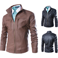 2015 New men leather jacket stand collar pu motorcycle leisure coat jaqueta couro M 3XL 4XL JPY212