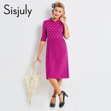 Sisjuly женские осенние повседневные платья Фиолетовый Плиссированные в белый горошек платье Половина рукава женский новый дизайн, элегантные повседневные платья