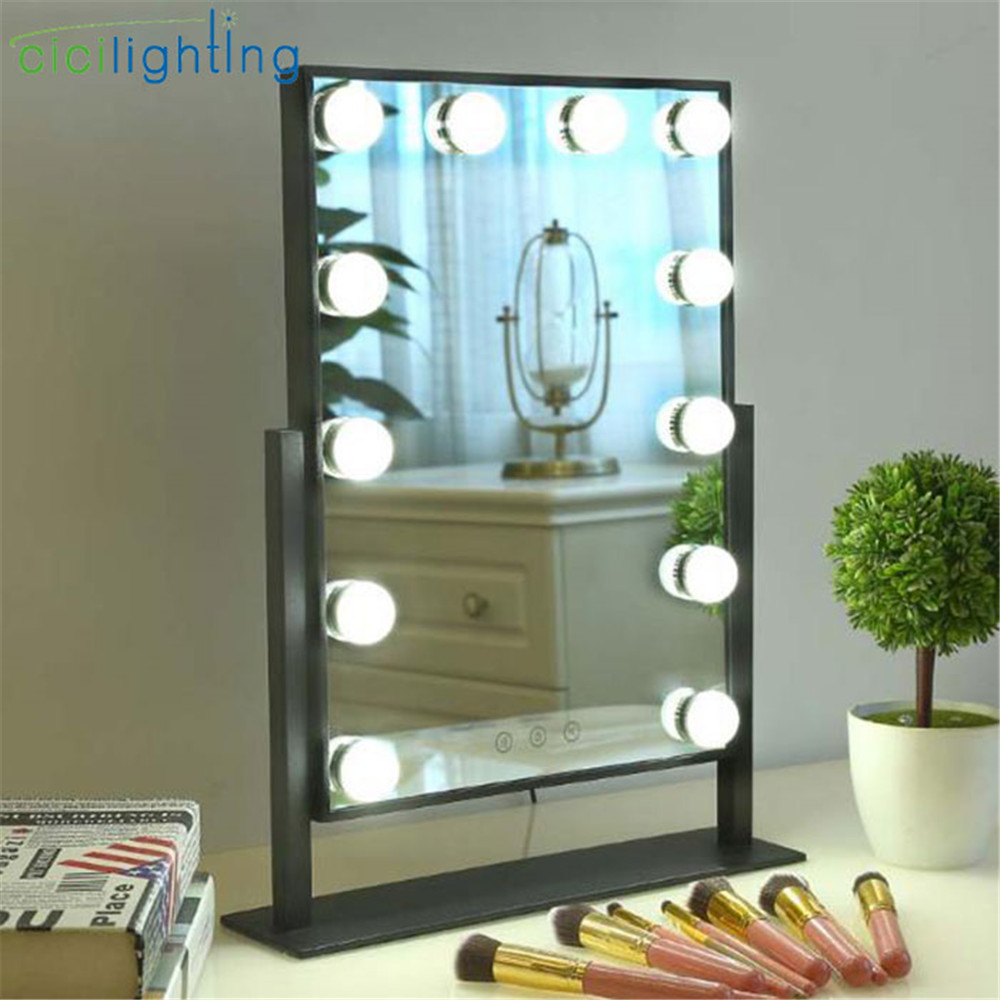 color changeable led vanity lights, touch control mirror + light makeup lighting for dressing table, black white dimmable lamp