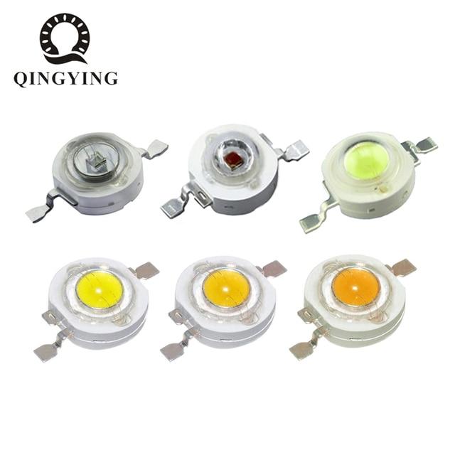 مصابيح LED عالية الطاقة 100 قطعة 1 واط 3 واط أبيض بارد أبيض طبيعي دافئ أبيض RGB أحمر أخضر أزرق أصفر مصدر ضوء