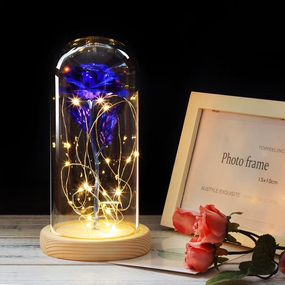 6 цветов Красота и чудовище красная роза в стеклянном куполе на деревянной основе для подарков Святого Валентина светодиодный лампы с розами Рождество - Цвет: blue