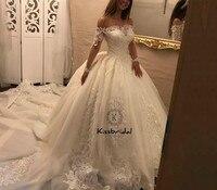 Модные 2018 Свадебные платья бальное платье Лодка шеи Sheer с длинным рукавом vestidos de noiva Кружева Тюль Свадебные платья