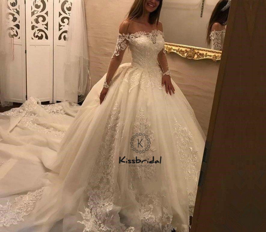 New Fashionable 2018 Wedding Dresses Ball Gown Boat Neck Sheer Long ...