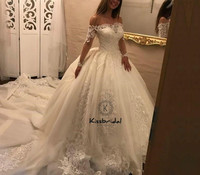 Fashionable 2018 Wedding Dresses Ball Gown Boat Neck Sheer Long Sleeve vestidos de noiva Lace Tulle Bridal Gowns